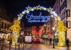 Entrance to the city center of Strasbourg on Christmas time. Strasbourg, France - December 15, 2013: Entrance to the city center of Strasbourg on Christmas time Stock Images