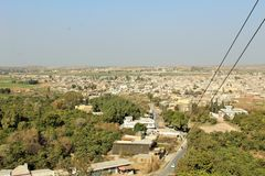 Entrance to the city of kalar kahar in Punjab. A beautiful view of fields and crops in the country of Punjab, india, Pakisan, asia, africa, europe. lanscape Royalty Free Stock Photos