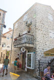 Entrance to the coffee shop in the old Budva, Montenegro Royalty Free Stock Photos