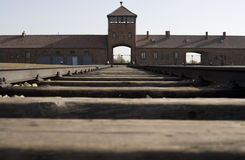Entrance to concentration camp of Birkenau Stock Photography