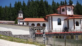 The entrance to the courtyard of the monastery economic St. Panteleimon in the Rhodopes stock video