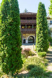 Entrance to the courtyard of the monastery of Troyan in Bulgaria stock images
