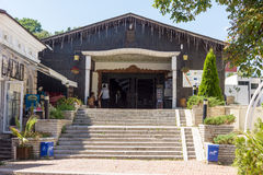 Entrance to the covered bridge in Lovech in Bulgaria stock images