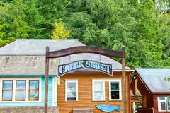 Entrance to Creek Street in Ketchikan, Alaska royalty free stock photo
