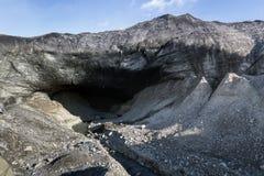 Entrance to Crystal Blue Ice Cave Skaftafell. At Vatnajokull Glacier Jokulsarlon National Park stock photography