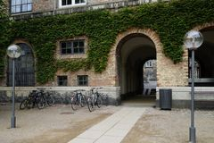 Entrance to Det kongelige Biblioteks Have with bicycle parking. On the foreground, Copenhagen, Denmark stock photo