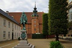 Entrance to Det kongelige Biblioteks Have with monument to Peder Griffenfeld. Copenhagen, Denmark royalty free stock photography