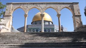 Entrance to the Dome of Rock Plaza stock video footage