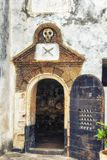 Entrance to the dungeon were male slaves were kept prior to tran. Sshipment. Elmina Castle royalty free stock images