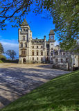 Dunrobin Castle is a stately home in Sutherland, in the Highland area of Scotland. Entrance to Dunrobin Castle, Sutherland - North and East Highlands. Dunrobin royalty free stock photos
