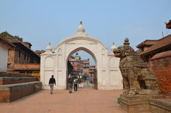 Entrance to Durbar Square  in Bhaktapur Stock Image