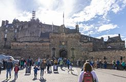 The entrance to Edinburgh Castle. EDINBURGH, SCOTLAND – AUGUST 5, 2017: Military Tattoo attendees exploring near the entrance to Edinburgh Castle on a stock photo
