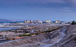 Entrance to Eilat city, after sunset Stock Photo