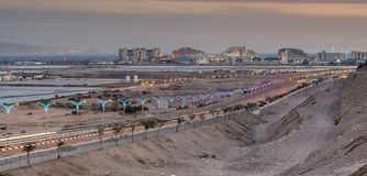 Entrance to Eilat city after sunset Royalty Free Stock Photography