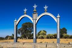 Entrance to the ethiopian orthdox christian Wukro Cherkos church, Ethiopia stock photo