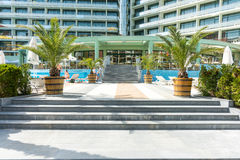 Entrance to Evrika Beach Hotel on Sunny beach, Bulgaria stock photo