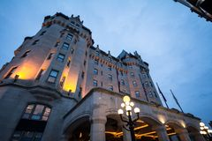 Entrance to the Fairmont Chateau Laurier hotel in downtown Ottawa, Ontario. OTTAWA, CANADA - NOVEMBER 12, 2018: Part of the Fairmont group, it is a luxury hotel royalty free stock image