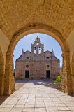 Entrance to famous Arcady monastery, island of Crete Stock Photo