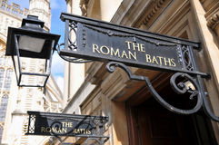 Entrance to the Famous Roman Baths in Bath England. Entrance to the Historical Landmark Roman Baths in the City of Bath in Somerset England Stock Photography