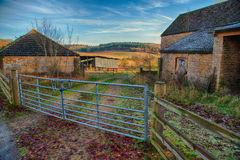 Entrance to farm & buildings Royalty Free Stock Photos