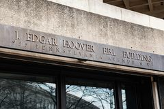 Entrance to FBI Building in Washington DC stock photo