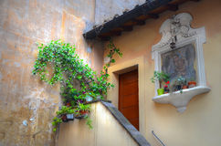 Entrance to a flat. Entrance with steps to a flat in Rome stock photo