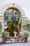 Entrance to the florist's shop decorated with flowers and plants Stock Photography