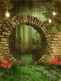 Entrance to a forest. Entrance to enchanted forest with hanging lamps and colorful mushrooms royalty free illustration
