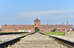 Auschwitz Concentration Camp. Entrance to former Auschwitz-Birkenau Concentration Camp memorial and museum Oswięcim Poland Royalty Free Stock Photo