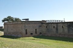 A view of a bastion at Fort Gaines on Dauphin Island in Alabam. Entrance to Fort Gaines in Mobile Bay, Alabama. Two canons protect the entrance Stock Photos