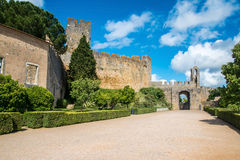Entrance to the fortress Medieval Templar castle in Tomar. Royalty Free Stock Photos