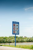 Entrance to France road sign. Welcome to France road sign showing speed limits for expressways (highways), public city roads and country roads Royalty Free Stock Photo