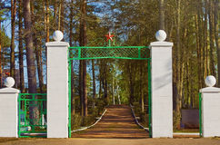 Entrance to the Fraternal Cemetery. Daugavpils, Latvia stock photo