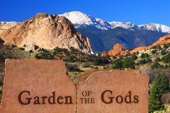 Entrance to Garden of the Gods in Colorado. Sign and entrance to Garden of the Gods in Colorado Springs Royalty Free Stock Images