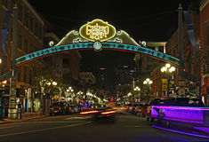 Entrance to the Gaslamp Quarter of San Diego, California Stock Images