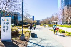 Entrance to the Googleplex area, the main Google campus situated in Silicon Valley. March 7, 2018 Mountain View / CA / USA - Entrance to the Googleplex area, the royalty free stock image