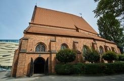 The entrance to the Gothic, Catholic church royalty free stock photo
