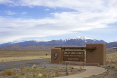 Entrance to Great Sand Dunes National Park and Preserve. Entrance sign to the Great Sand Dunes National Park and Preserve in Colorado Stock Photography