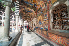 Entrance to the great temple of Rila Monastery in Bulgaria Royalty Free Stock Images