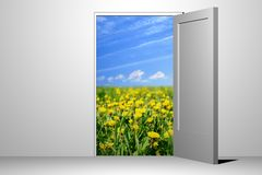 Entrance to green field. Lost paradise Stock Photography
