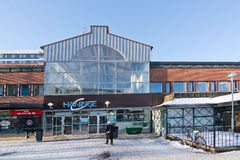 Entrance to Haninge center. HANINGE, STOCKHOLM, SWEDEN - JANUARY 21, 2016: Entrance to Haninge center building on a sunny winter day with snow on January 21 Royalty Free Stock Image