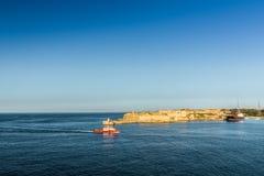 The port of La Valletta, Malta. The entrance to the harbor of La Valletta. The beautiful and historic capital of Malta Stock Photo
