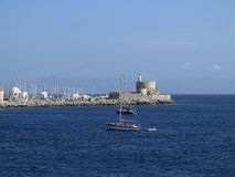 Entrance to the harbor of Rhodes, Greece Royalty Free Stock Images