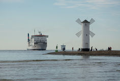 The entrance to the harbor, Swinoujscie. Affecting ships to the port, roadstead, swinoujscie Royalty Free Stock Photos
