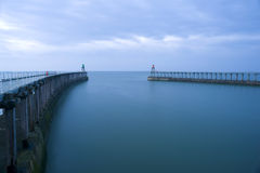 Entrance to the harbour at Whitby, North Yorkshire Stock Photography