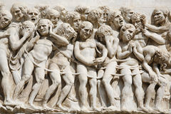 Entrance to Hell. Detail from the ornate of the facade - Orvieto Cathedral, Umbria, Italy Stock Images