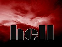 Entrance in to the hell. Illustration of the hell made of red sky and word hell Stock Photography