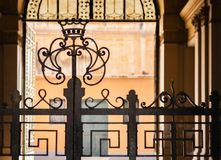 Entrance to the historic building, Catania, Sicily, Italy stock photography