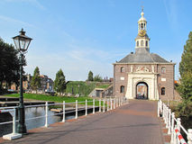 Entrance to historic centre of city Leiden stock image
