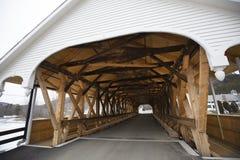 Entrance to historic white covered bridge, Stark, New Hampshire. Royalty Free Stock Photography